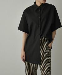 tops-02247 リネン混 ボーイフレンド シャツ ブラック