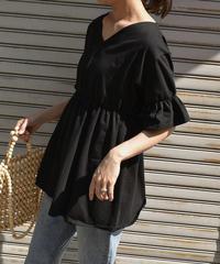 nh-tops-02076 VネックフレアデザインTシャツ ホワイト ブラック