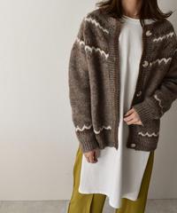 1月下旬入荷分 予約販売 knit-02083 ウール混 ノルディック ニット カーディガン モカ