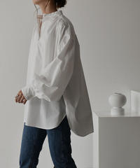 tops-04045 日本製 ボリュームスリーブ ギャザーブラウス ブラック ホワイト