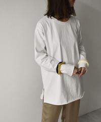 nh-tops-02145 カットオフ スリット ロングTシャツ ホワイト