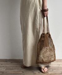 nh-bag2-02493 フィッシュネット スクエアトートバッグ 巾着付き ブラウン