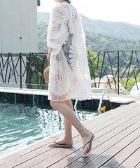 nh-gown-02006 ロングレースガウン カバーアップ レディース オフホワイト