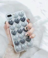 mb-iphone-02375 ラメ入り プチプチハート ブルー iPhoneケース