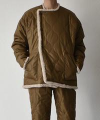 12月中旬~12月下旬入荷分 予約販売 outer-04008 日本製 キルティング×エコファー リバーシブルショートコート キャメルカーキ グリーンカーキ