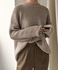 knit-02035 ウール混 ローゲージニット モカベージュ