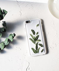 mb-iphone-02408 リーフ 刺繍 iPhoneケース
