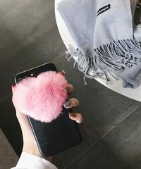mb-iphone-02400 ハート エコファー ポンポン iPhoneケース