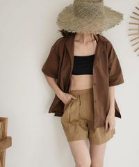 swim-04010 日本製 撥水ナイロンタスラン 半袖オープンカラーシャツ ラッシュガード ブラウン