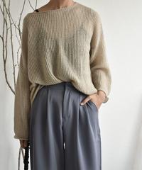 knit-02061 シアールーズ ニット トップス ダスティピンク ピスタチオ モカベージュ グレー