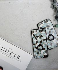 mb-iphone-02364 バンカーリング付き  幾何学模様 マーブル柄 iPhoneケース