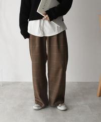 bottoms-02047 ツータック セミワイド チェックパンツ ブラウン