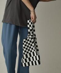 bag2-02579 チェッカーフラッグ ニットバッグ ブラック×ホワイト グリーン×ホワイト グリーン×ブルー