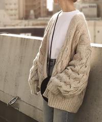 knit-02013 ミディアム丈 ケーブル柄ニットカーディガン