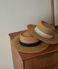 cap-02041 リボン付きカンカン帽 ブラック エクリュ