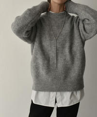 knit-02104 クルーネック ハイゲージ ニット プルオーバー  グレーミックス ブラウンミックス