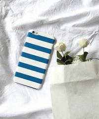 mb-iphone-02356 ブルー ボーダー柄 iPhoneケース