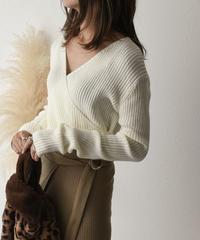 knit-02049 カシュクールリブトップス ブラック ホワイト ベージュ