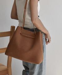bag2-02466 エコスエード ショルダーバッグ ハンドバッグ ブラウン