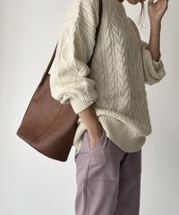 knit-02041 ケーブル オーバーニット アイボリー