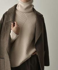 knit-02102 スライドリブ タートルネック ニット エクリュ モカカーキ