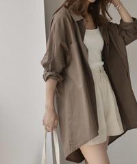nh-tops-02092 リネンライクオーバーサイズ シャツ ブラウン
