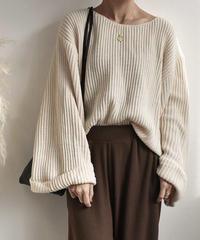 knit-02004 ワイドスリーブニット ライトベージュ