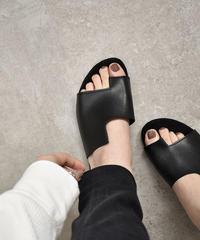 nh-shoes-02057 変形デザイン フェイクレザー フラットサンダル ブラック