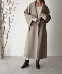 coat-06002 ワイドスリーブ ロング ウールガウンコート リバー仕立て オートミール