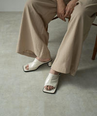 shoes-02133 スクエアトゥ サンダル ホワイト ブラック