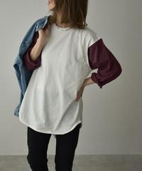 4月下旬入荷分 予約販売 tops-02230 オーバーサイズ ベースボールTシャツ オフ×グレーブルー オフ×バーガンディ 杢グレー×スミクロ