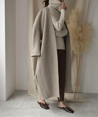 11月下旬頃入荷分 予約販売  coat-06001 ノーカラー ウール ロングガウンコート リバー仕立て オートミール