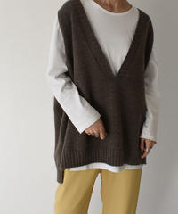 knit-02081 オーバーサイズ Vネック ニット ベスト ベージュ モカブラウン