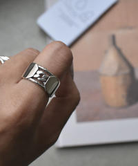 mb-ring2-02026 SV925 チェーン&プレートデザインリング シルバー925リング