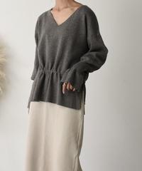 10月中旬~10月下旬入荷分 予約販売 knit-02055 フレアスリーブVネックニット ベージュ グレー