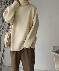 knit-02059 タートルネックオーバーニット アイボリー ブラウンミックス