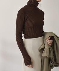 knit-02056 リブタートルネックニットトップス エクリュ モカベージュ ブラウン ピスタチオ