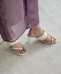 shoes-02105 アシンメトリーデザイン クリアヒール サンダル ブラック エクリュ オレンジ ミント