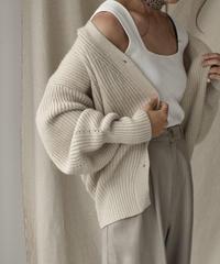 knit-02034 ボリュームスリーブ Vネックニットカーディガン ベージュ