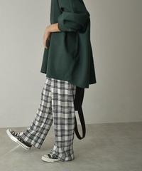 ブラックのみ9月下旬入荷分 予約販売  nh-bottoms-02128 チェック柄 プリーツ パンツ ホワイト ブラック