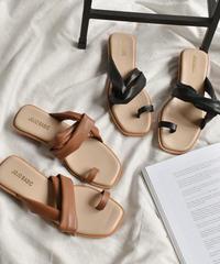 shoes-02062 フェイクレザー サイドクロスサンダル ブラウン ブラック