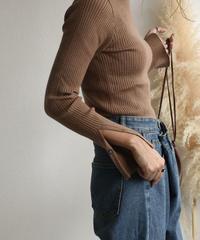 knit-02038 スリットスリーブ リブトップス モカ