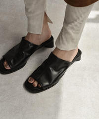 shoes-02073 チャンキーヒール オープントゥサンダル ブラック