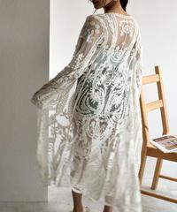 nh-gown-02001 ロングレースガウン カバーアップ レディース オフホワイト