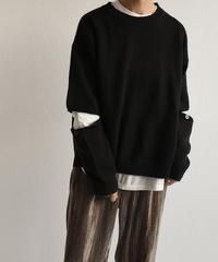 knit-02078 カットスリーブデザイン ニット トップス ブラック オフホワイト