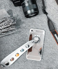 mb-iphone-02293 メタリックシルバー スタッズ付きシルバーストラップ iPhoneケース