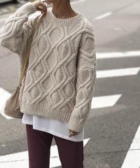 knit-02046 クルーネック ケーブル柄ニット ライトグレー ベージュ