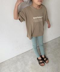 nh-kidstops-02001 キッズ クルーネック テキストTシャツ ホワイト モカ