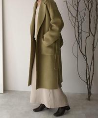 coat-02025 ウール90 バックタックガウンコート リバー仕立て オリーブ