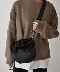 nh-bag2-02481 2way ナイロンショルダー巾着バッグ ブラック